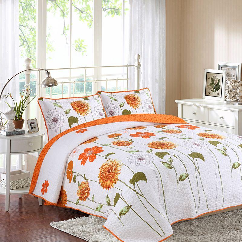 Yatak Yorgan Seti 3pc Çiçek yazdır Pamuk Yorgan Yatak Örtüsü Yastık Kral Kraliçe Yaz kapitone yatak örtüsü için CHAUSUB Örtüleri
