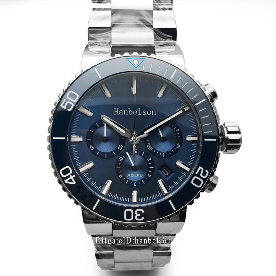 2020 montres pour hommes de luxe 46mm bleu céramique lunette chronographe multifonctionnel d'acier inoxydable quartz montre montre de luxe