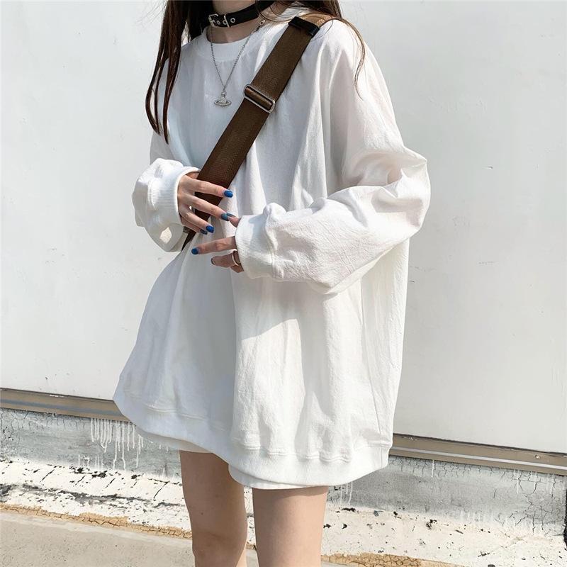 2020 nuovo autunno stile coreano allentato di colore solido di grandi dimensioni sottile maglia a manica lunga moda ins studente maglione del cappotto del cappotto delle donne delle donne