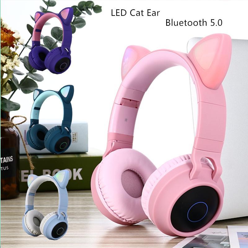 Dosmix LED-Katze-Ohr Kopfhörer mit Geräuschunterdrückung Bluetooth 5.0 Kinder Headset Support TF-Karte 3,5 mm Stecker mit Mikrofon