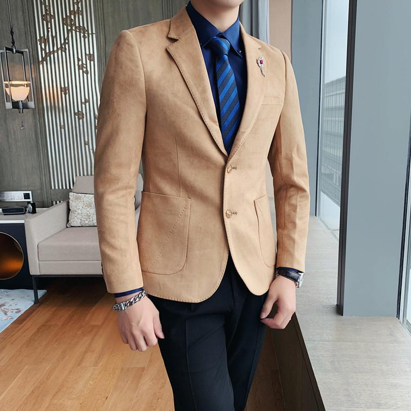 Suede Leather Blazers Mens Elegant Fashion Mens Clothes For Young Men Gentleman Dress Blazers Blue 2020 Winter Trends White