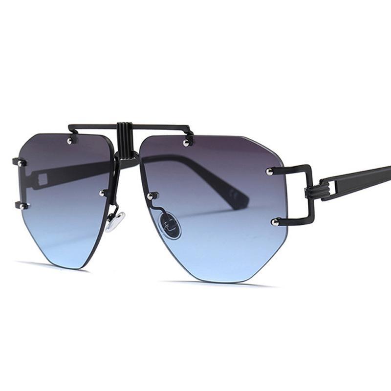 Nova moda extragrande sem aro dos óculos de sol para as mulheres Irregular única liga Caixilharia Estores Ladies Shades UV400