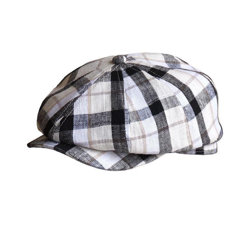 Quente Fibonacci Marca Qualidade Plano Newsboy Cap For Men algodão Mulheres Linho Flatcap Verão Beret Hat britânica Vintage francês Caps T200911