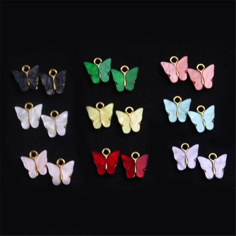 Nueva Joyería de los encantos de la moda que hace el encanto de la mariposa de la resina colorida de la aleación de oro de la vendimia para el pendiente del collar de bricolaje