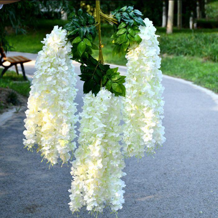 12pcs / set Artificial Wisteria Vine Silk Flower Rattan 1,64 metros para Centerpieces casamento Decoração Bouquet Garland ornamento Início