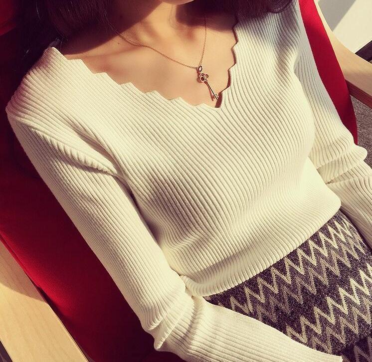 2020 estilo de otoño Nueva Corea del suéter superior jersey con cuello en V suéter ondulada delgada del ajuste interior de las mujeres de base manga larga superior enlcb