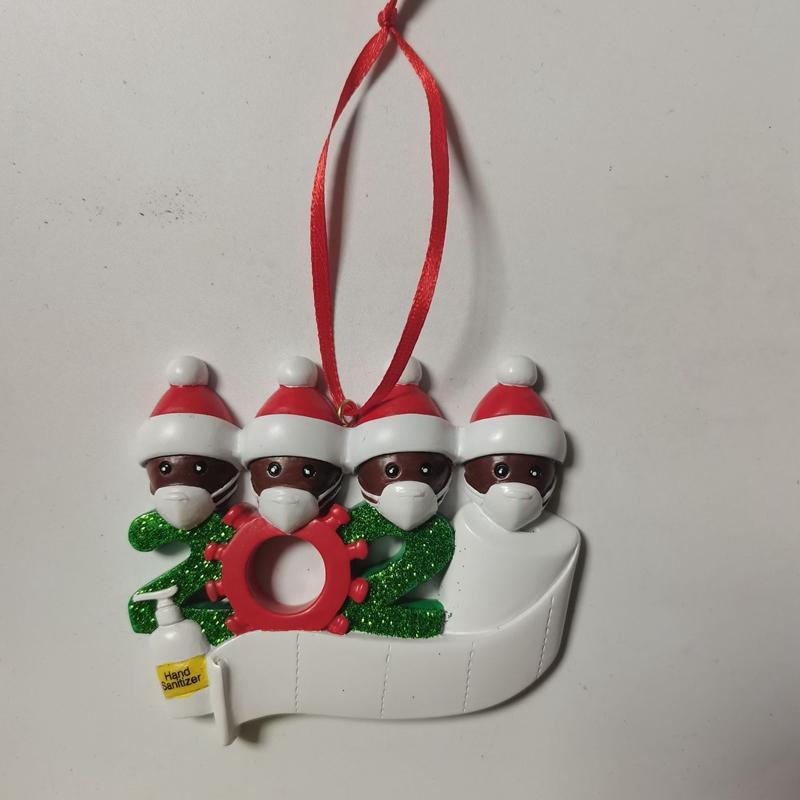 2020 Árvore de Natal Decoração de Natal Quarentena Resina presente Africano Ornamento de suspensão do Papai Noel com máscara estatueta 7 Pessoas LJK2479