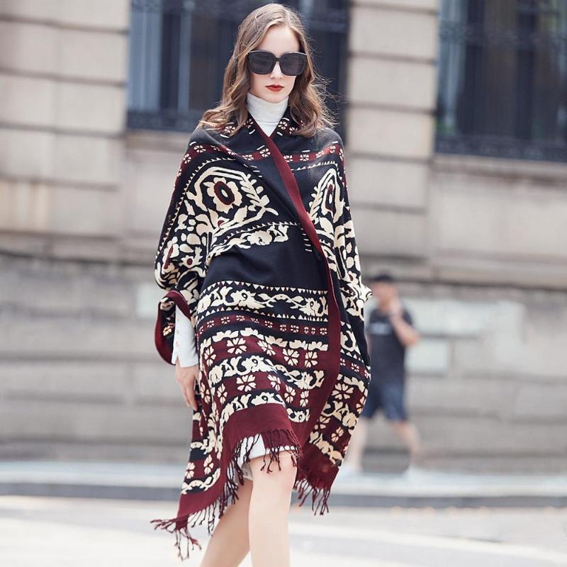 Lana Donne Sciarpe Stole elegante Carf caldo scialle Bandana sciarpa musulmana Hijab Beach Blanket Visiera Foulard