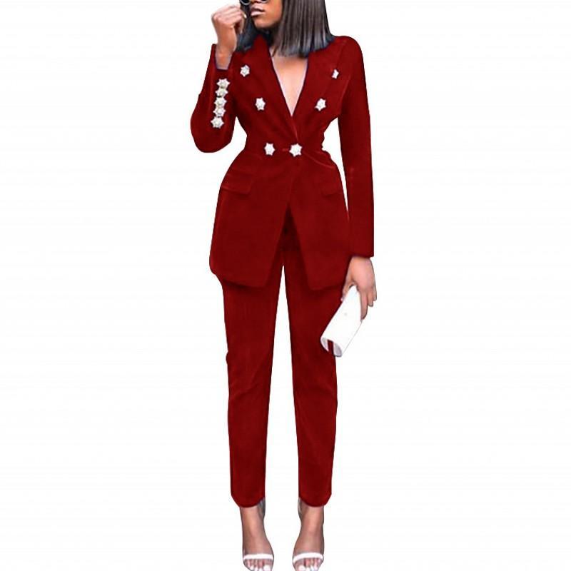 Women's Two Piece Pants Office Lady Suits Set Women Autumn Winter Solid Business Interview Suit Uniform Slim Blazer And Pencil Pant