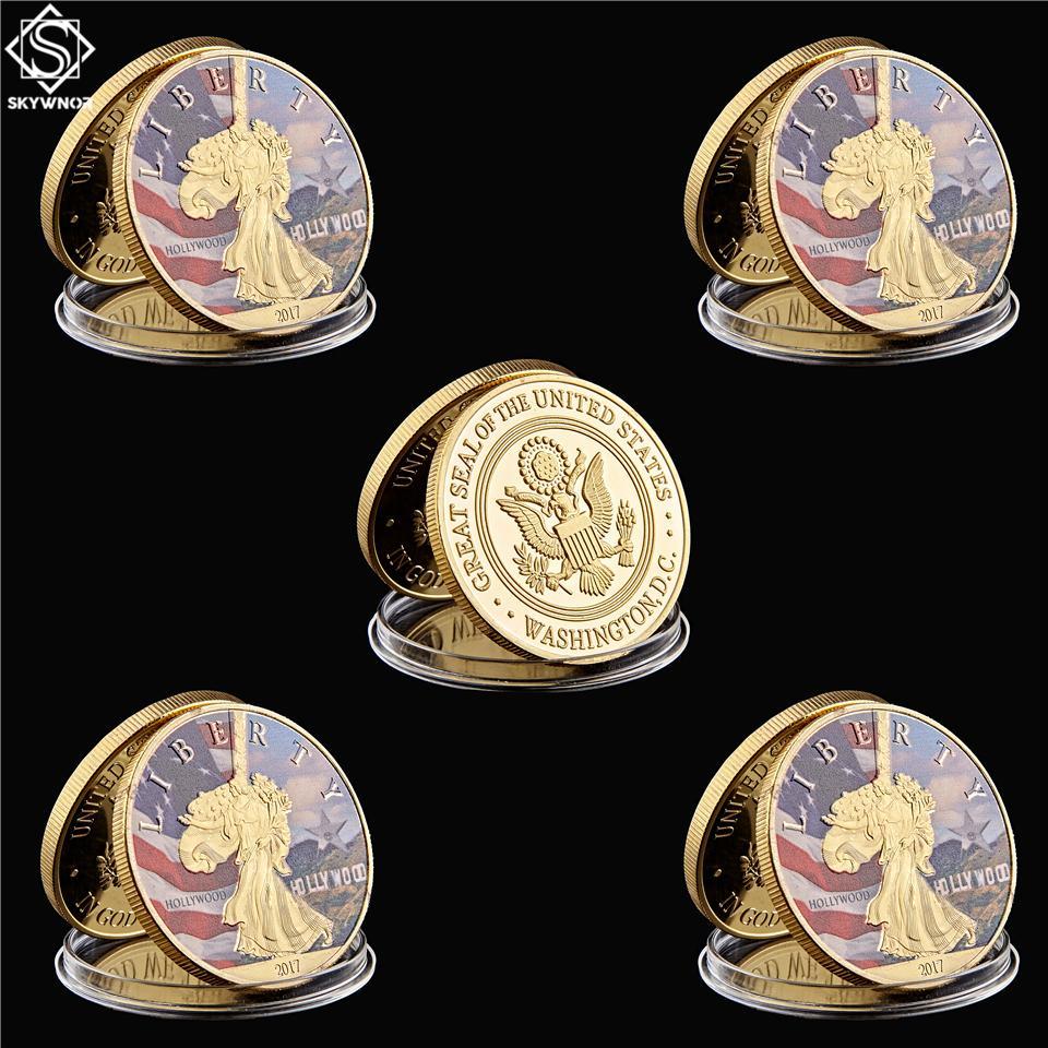 5 шт. / Лот Американский Йеллоустонский национальный парк Nature Craft позолоченный токен медальон монета