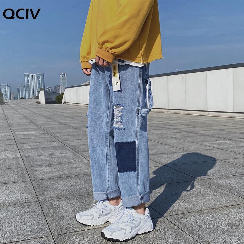Men's Jeans Men Patchwork Hole Ripped Mens Korean Fashions Harajuku Baggy Denim Pants Punk Hip Hop Black