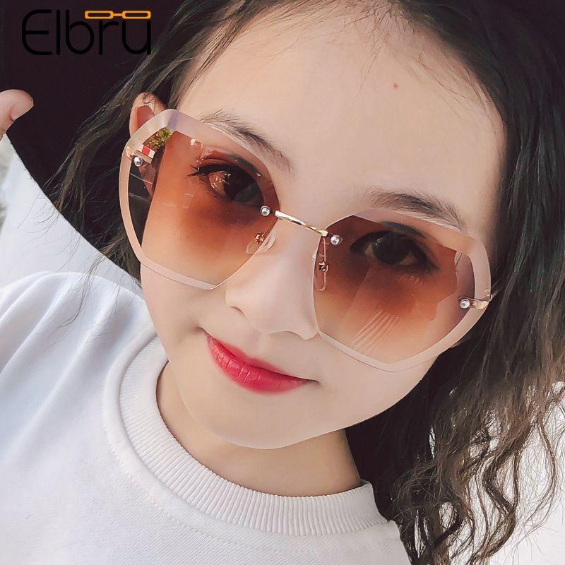 Elbru Large Frame Children Sunglasses Baby Cute Fashion Sunshades Summer Trend Ocean Color Lens Sun Glasses For Boys And Girls