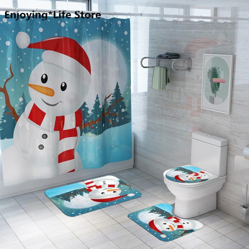 Рождественский Снеговик Печатный Душ занавес Туалет Мат Ковер Комплект ванной Украшение Антипробуксовочная Мат Набор для ванной комнаты Коврик