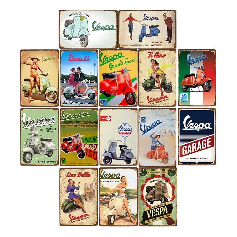 Vespa retro metallo Targhe in metallo per moto Targa Bar Bar Garage decorazione poster da parete Home Decor 20 * 30 CM C0926