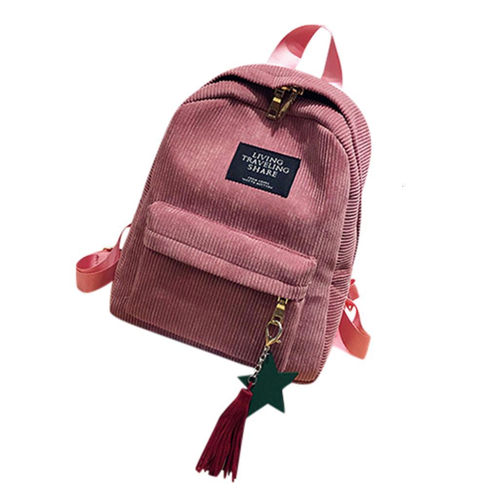Mode Femme Mini Simple Corduroy Sacs à dos Lady Campus Pure Color Style de grande capacité de loisirs double rayé Sac à bandoulière # YL5