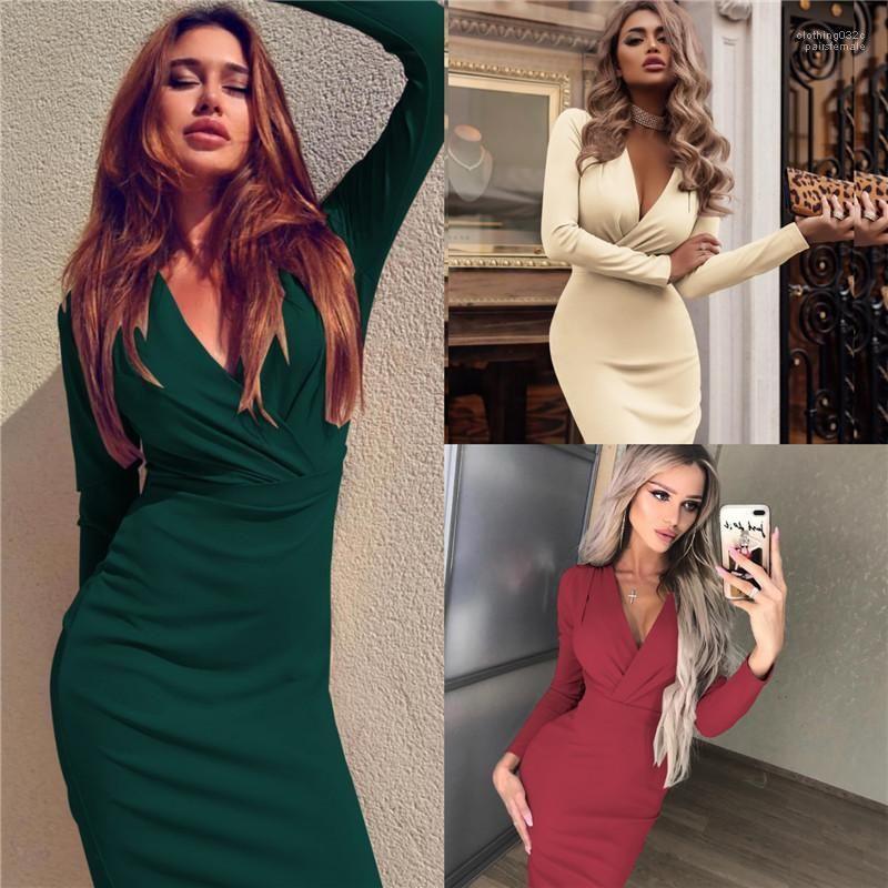 V-Ausschnitt Langarm Bodycon Kleider der Frauen-Partei-Verein Bekleidung Designer Frauen Abendkleider Sexy Tief
