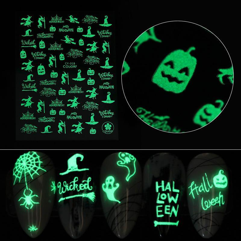 Noel Cadılar Bayramı Aydınlık Sticker Tırnak Etiketler Cadılar Bayramı Komik Partisi Parti Parlak Tırnak Sticker çoklu stilleri seçebilir