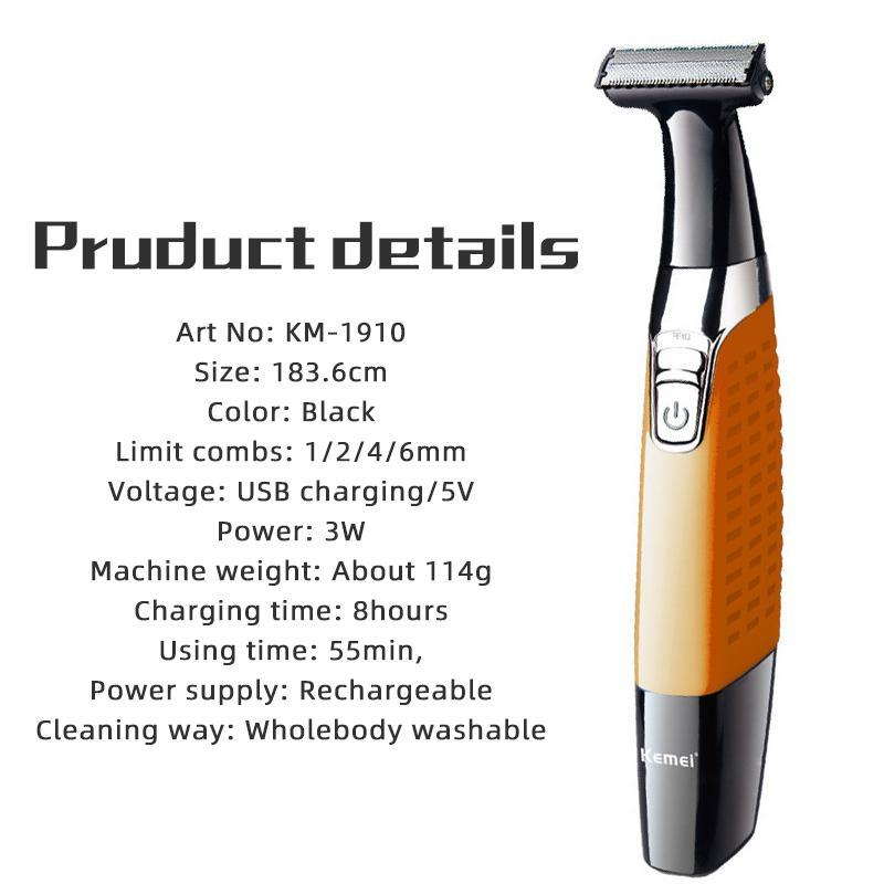 Kemei recargable afeitadora eléctrica de afeitar la barba afeitadora eléctrica del condensador de ajuste del cuerpo de la máquina de afeitar hombres cortador de pelo
