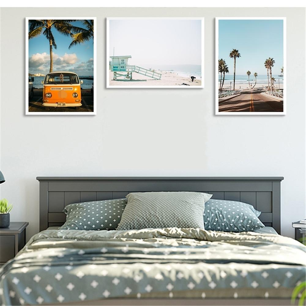 Modern Canvas Art Bus Tree Seascape Print Painting Hawaii Vacation Style Wall Picture Living Room Nordic Decoration Home Posters