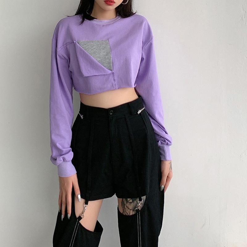 Designer de roxo New Mulheres Irregular Casual manga comprida Batwing luva Hoodies T-shirt Top Curto capuz Tamanho S-L Streetwear Atacado