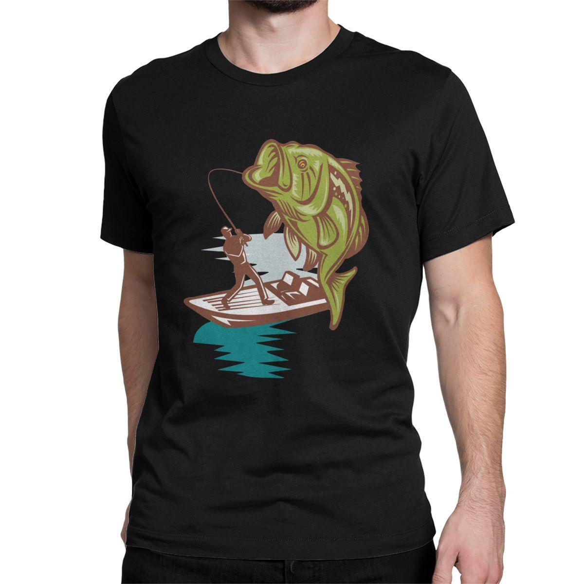 Erkekler Balıkçı Bas Büyük Ağız T Gömlek Saf Pamuk Giyim Casual Kısa Kollu Crewneck Tee Gömlek Benzersiz Tişörtler Balıkçılık