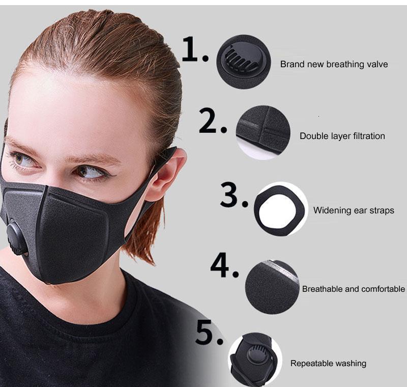 Gewaschen Respirator Ventil Staubfilter kann Black Mask mit Schwamm Breathwiederverwendetes PM2.5 Be Jyghr Hotstore2010