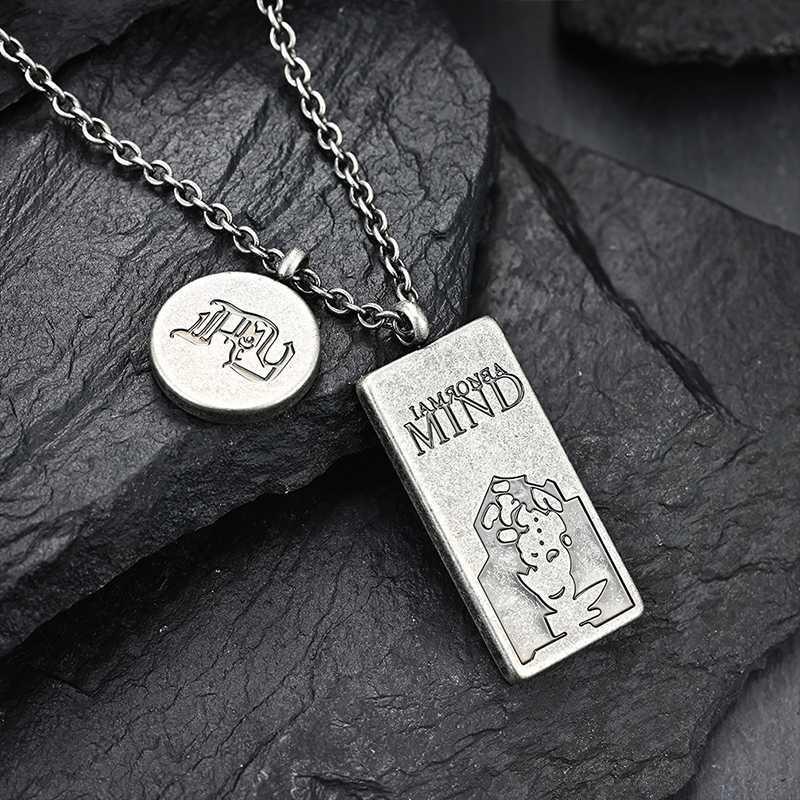 collana Targhetta doppia collana chian dell'anca dell'acciaio inossidabile degli uomini hop gioielli rotonda sugli accessori del collo