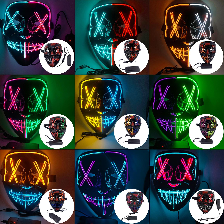 Cadılar Bayramı Yüz Maske 2020 Sıcak Satış 9 Renkli V Şeklinde Kan Led Maske Cadılar Bayramı Dekorasyon Korku Tema Parti Tasarımcı Yüz Maskeleri ile