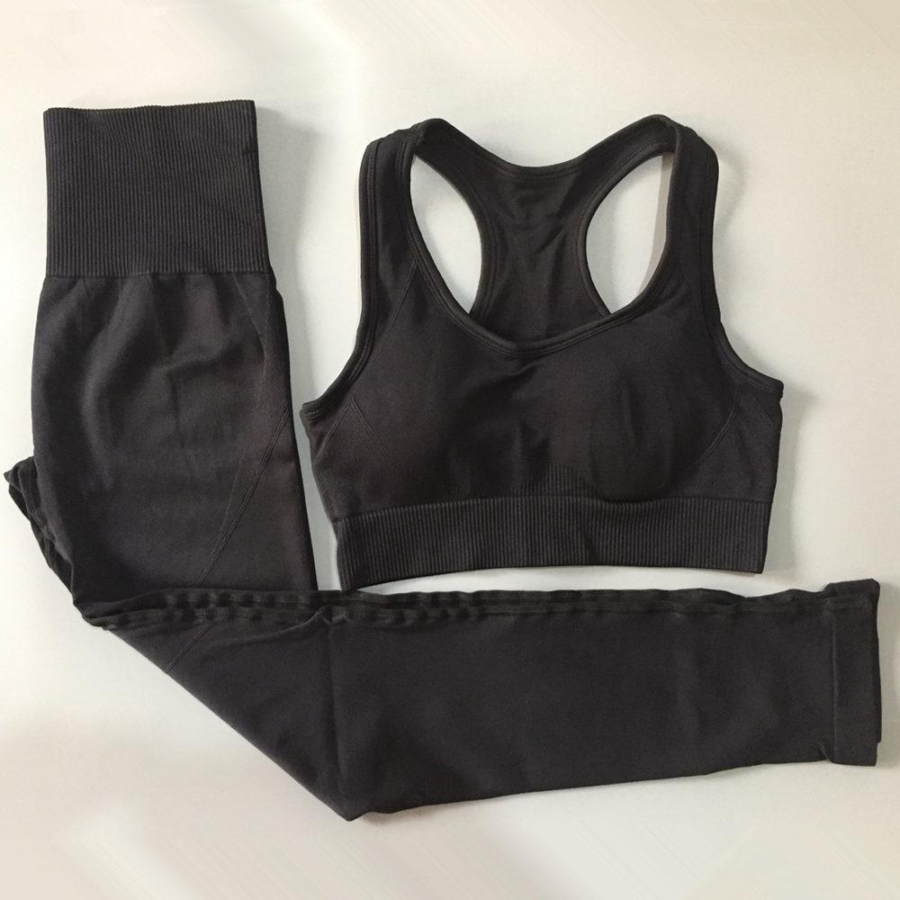 Nova roupa Yoga 2 Pcs Set Mulheres ginásio Seamless Leggings Correndo Suits Desporto Bra Tops cintura alta calças Jogging Sportswear Y200904