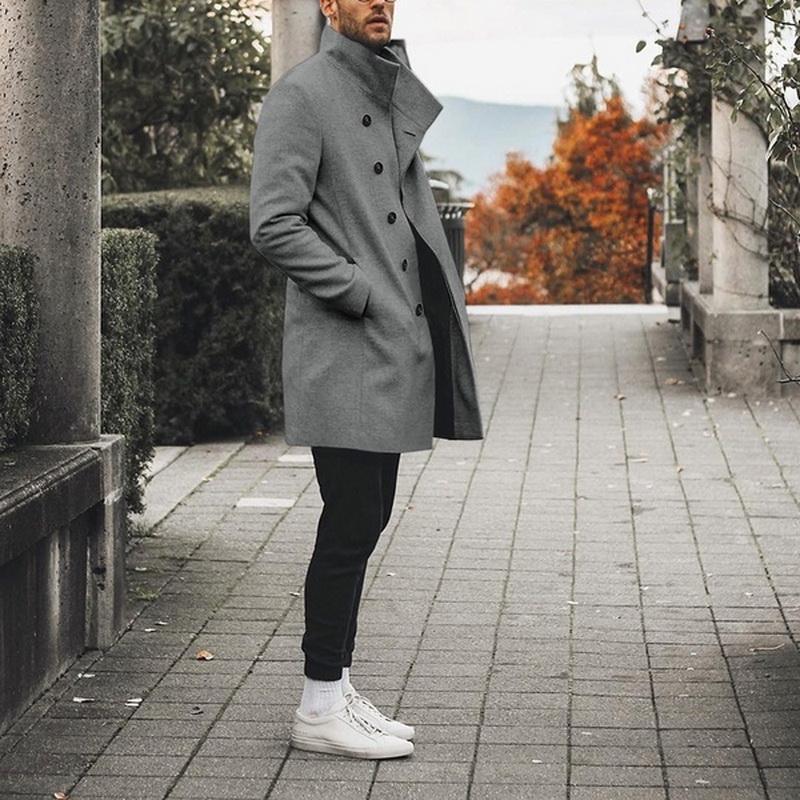 Kış Klasik İnce Trençkot Yüksek Kalite Uzun Coat Erkekler Sonbahar Erkek Hendek Katı Uzun WINDBREAKER Vintage Karışımları Coats