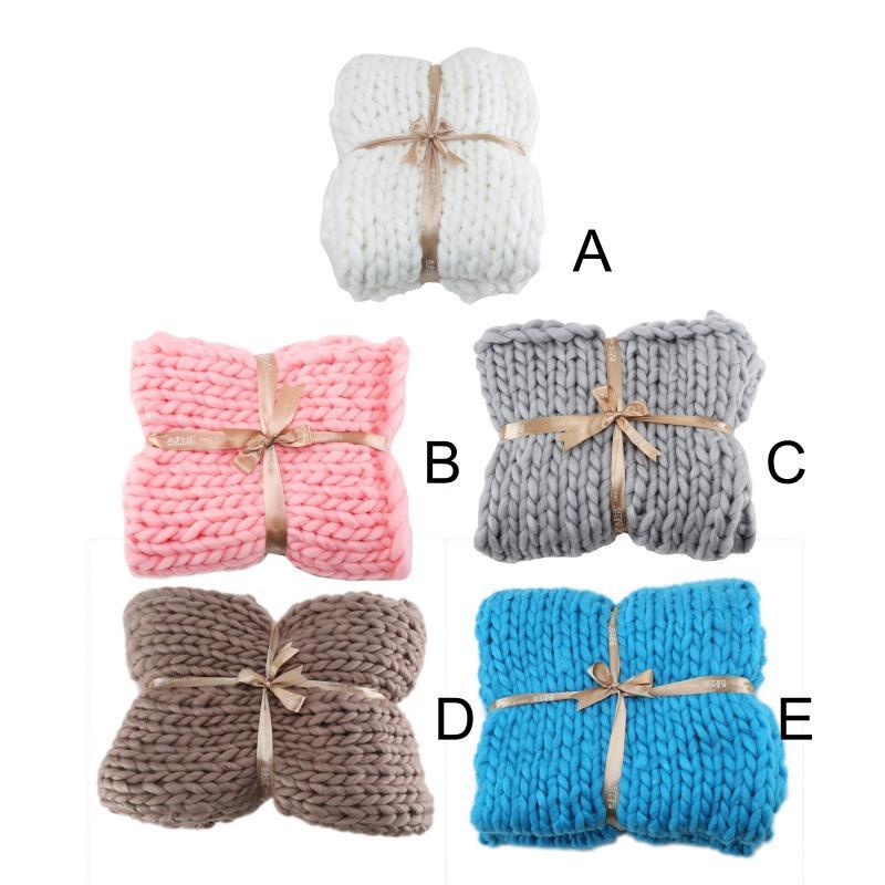 Home Textile suave Acrílico Chunky malha Cobertor de tecelagem da mão Fotografia Props cobertores macios Knitting Cobertores Outono 11.13