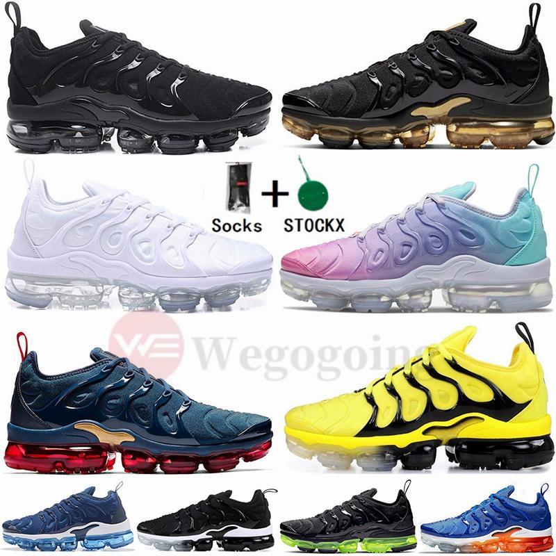 Dimensioni 12 con i calzini di aria Stock  Nike Air Max Vapormax Vapourmax X più Tn Scarpe Oro Nero Bianco Triple Airs Maxx Formatori Uomo Donna Sport Sneakers 36-46 Esecuzione