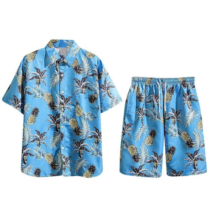 Hot Sale 2020 Summer Mens Casual Set Cotton Linen Mens clothes Floral Shirt Beach Shorts Print Shirts Shorts Pants Two