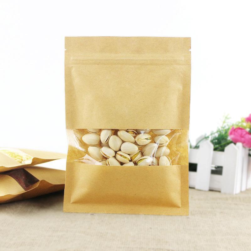 Kese hediye şeker güç saklama torbası fermuar saydam pencere kağıdı ile 100pcs düz tabanlı kahverengi kraft zip kilit ambalaj torbası