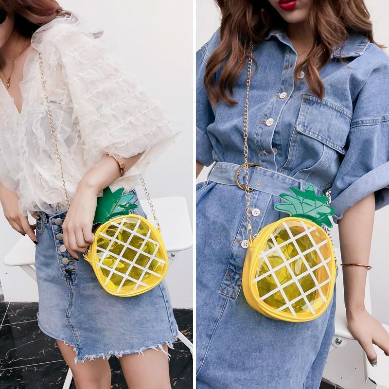 Мода ПВХ Девушки Crossbody Сумки смазливая ананаса Цепи Девушки Сумка Женщины сумки 2020 Роскошные девушки Студенческие сумки на ремне