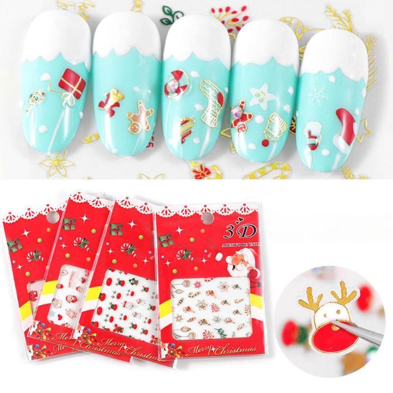 2Pcs Рождество Санта Снеговик Elk с Rhinestone Nail Art Наклейки Переводные картинки Декор Дизайн ногтей Наклейки переноса наклейки Вода