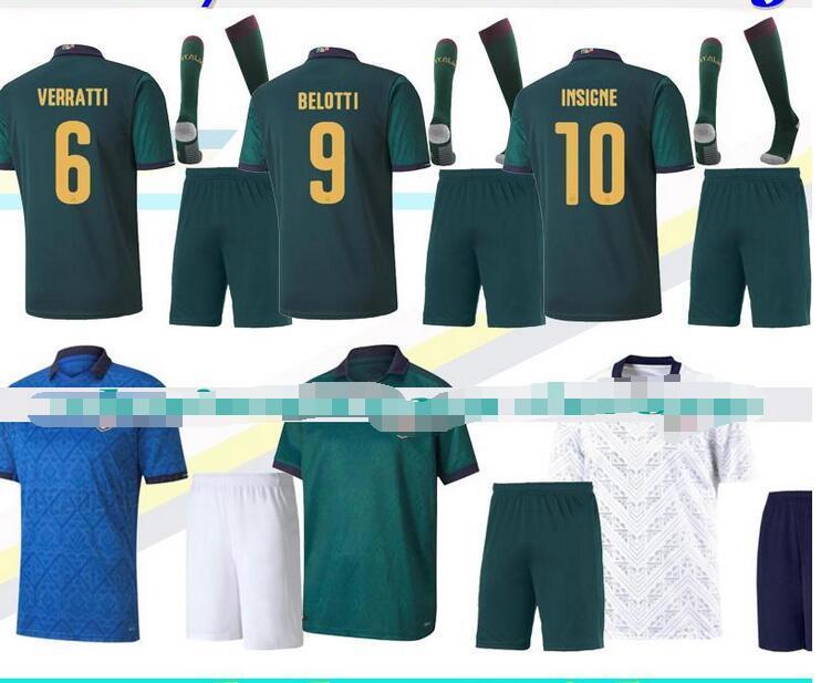 Kit adulte maglie da calcio Italie 2020 2021 TOTTI INSIGNE troisième vert bleu blanc costume maison loin des hommes ensembles maillots de football maillots de football