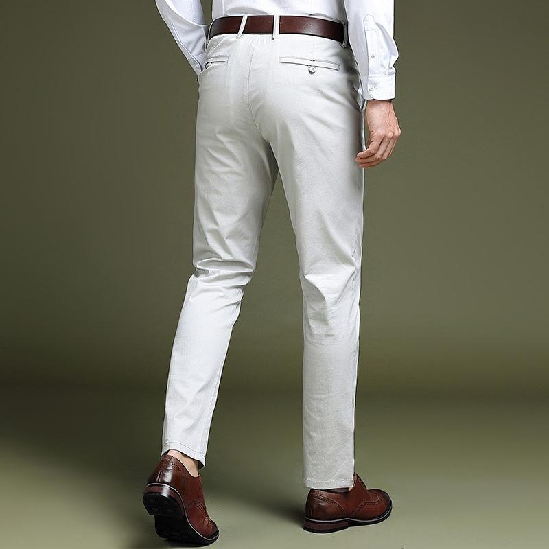 Gmupf retas Verão calças casuais 2020 negócio novas calças casuais da forma dos homens de meia-idade dos homens Slim Fit algodão FLIGD