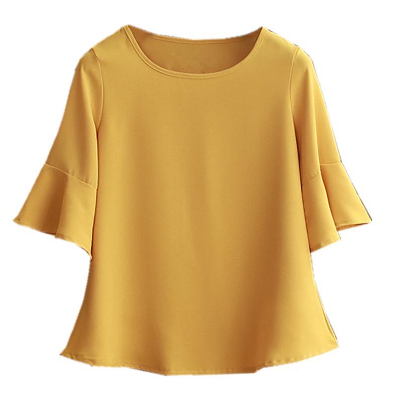 Sommer Fettleibigkeit Chiffon-Bluse plus Größe 6XL 5XL Frauen flare Hülse Schöne Selbst cultivati Hemd dünn 200925 Bluse anzeigen
