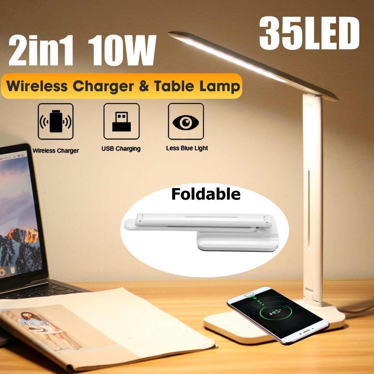 LED Настольная лампа 10Вт 2 в 1 Многофункциональных настройках Настольной лампы домашнего освещения быстрой зарядки Wireless Charger 10W питание Й Wireless