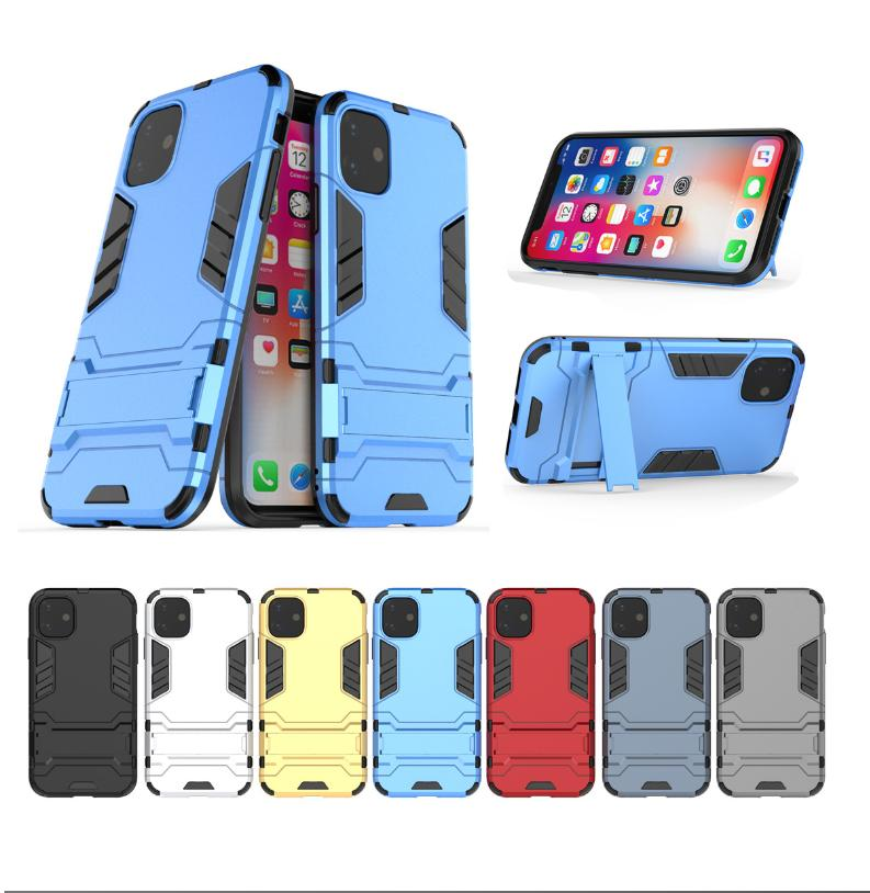 Casos de Ironman para iPhone 12 5.4 6.1 6.7 Samsung M01 Híbrido Defensor Hard PC + TPU à prova de choque de luxo robusto suporte de suporte