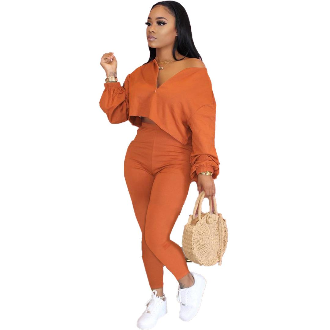 Autumn European and American Womens Solid Color Temperament Casual Two-Piece Long Sleeve Long Pants Set