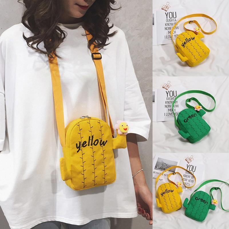 Women Canvas Handbags Korean Mini Student Bags Fashion Simple Canvas Cactus Coin Purse Shoulder Sun Flower Casual Bag *