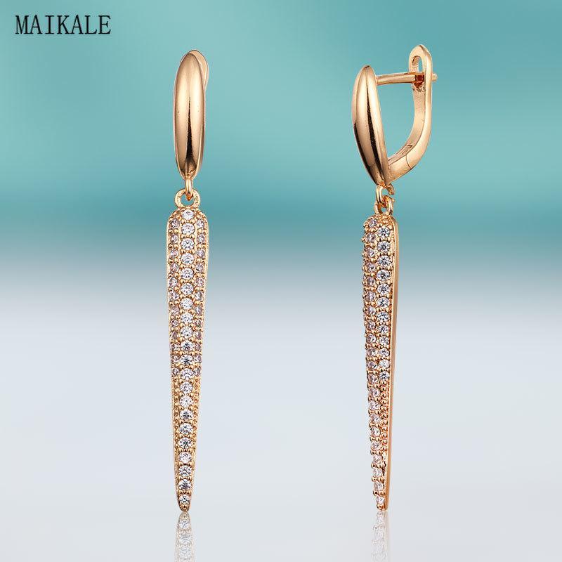 MAIKALE Новая мода смазливая Циркон серьги стержня для женщин фианитами Золото Earing Геометрическая клип на серьги подарка ювелирных изделий
