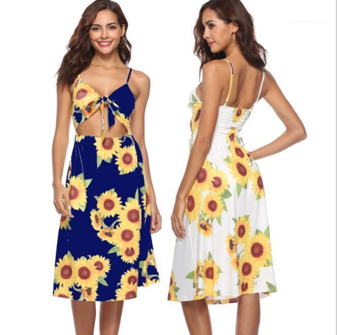 Knot Designer Beach Seaside vacances robes femmes Floral COMBI robe d'été mignon Bow