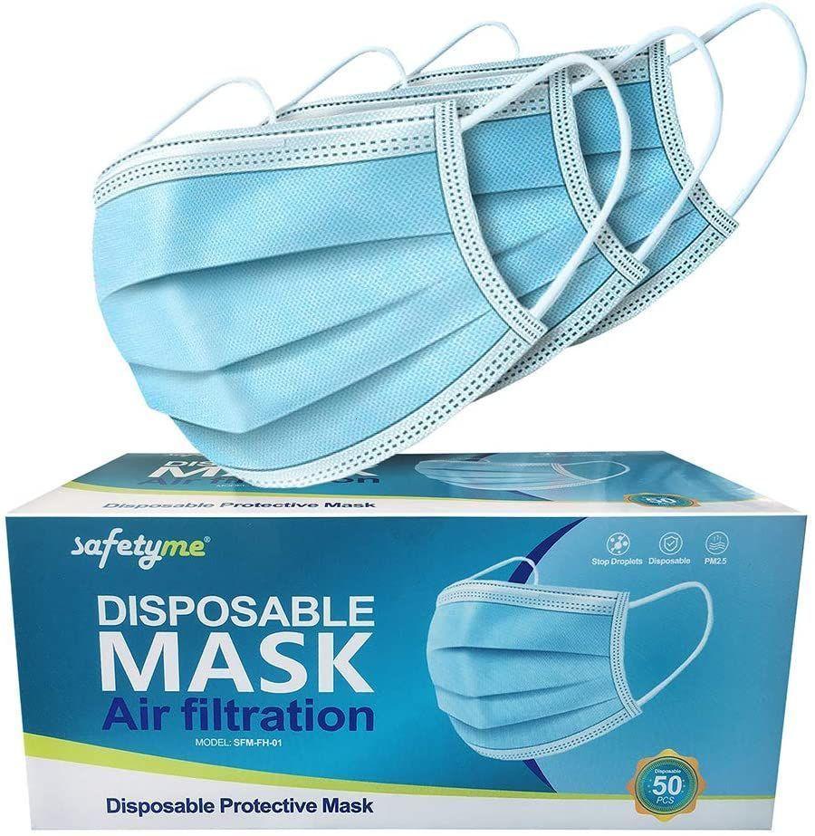 safetyme seguridad desechable Mascarillas de protección transpirable de 3 capas elásticas con ganchos de sujeción 50Pcs