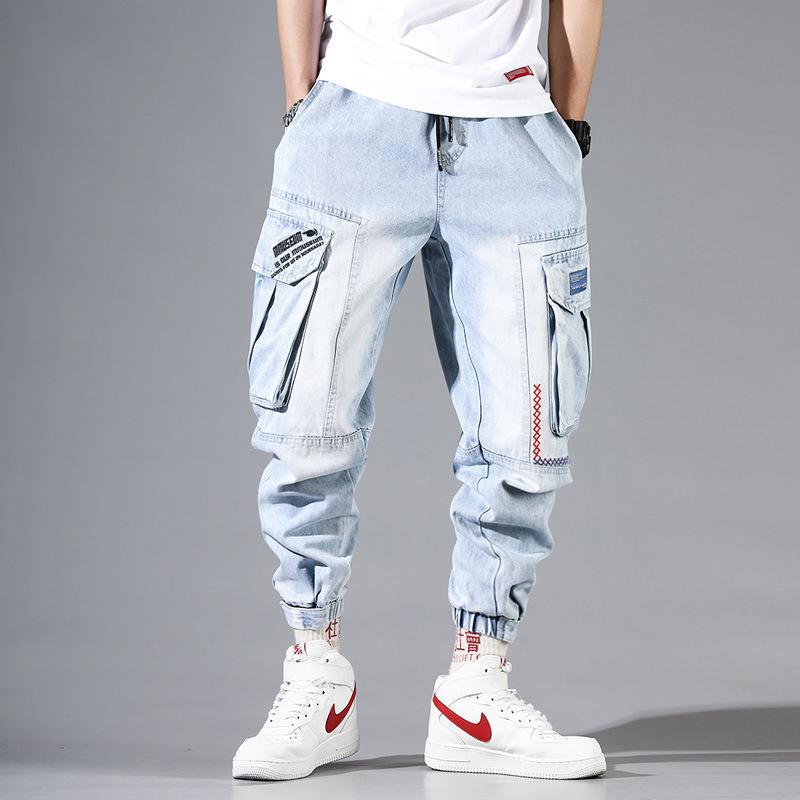 Mode Streetwear Hommes Jeans Bleu clair Loose Fit multi poches Pantalon cargo Harem Jeans Hommes Broderie Designer Hip Hop Joggers