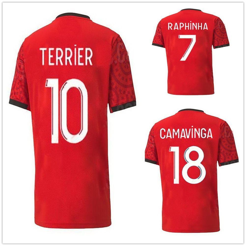 20-21 Stade Rennais Home SIEBATCHEU 9 fútbol jerseys modificados para requisitos calidad tailandesa fútbol camisetas Fútbol # 7 Raphinha # 11 # 21 Andre Niang fútbol