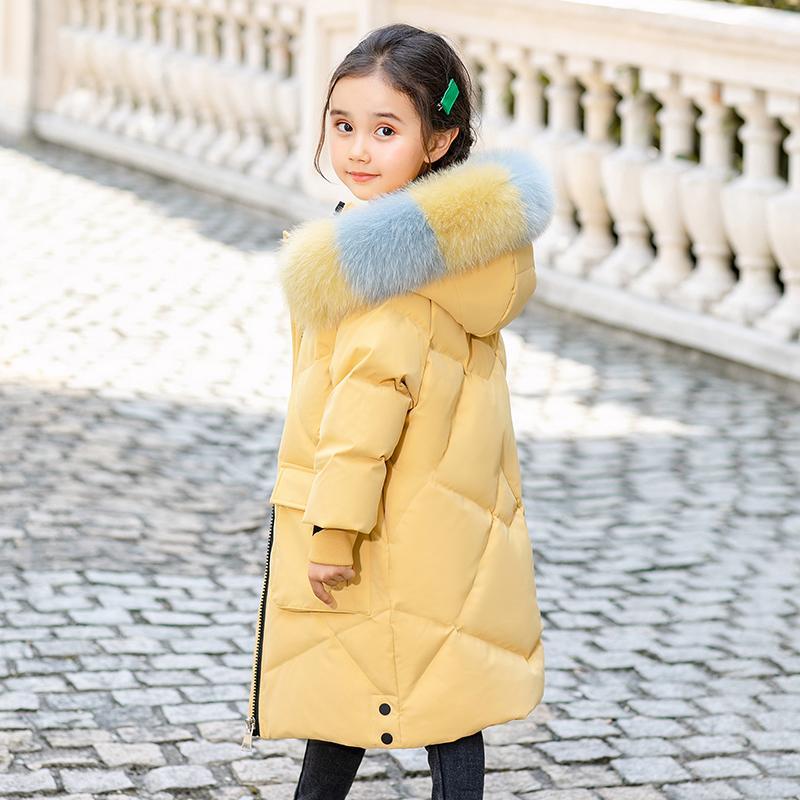 Traje para la nieve 2020 la chaqueta del invierno abajo de los niños para muchachas cubre ropa de abrigo con capucha gruesa de los niños caliente Parka real ropa de la piel