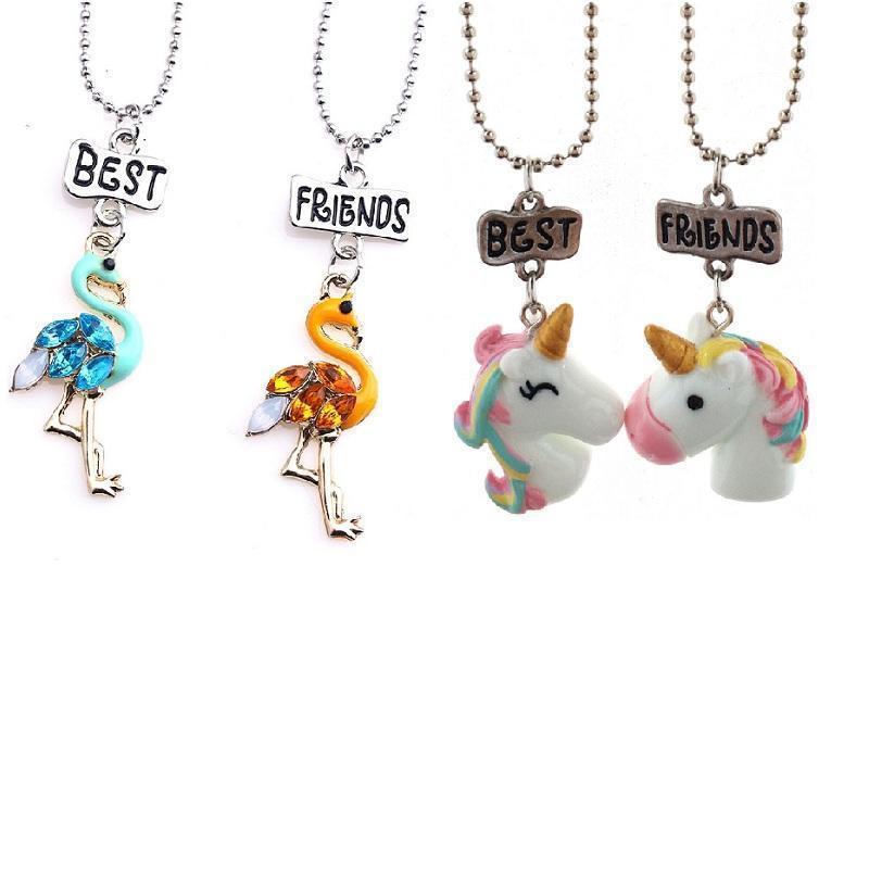 Vieeoease Collier Enfants Licorne Flamingo Pendentif Belle Collier 2018 Fashion Best Friends Pendentif Bijoux enfant mignon Ee -307